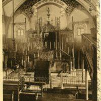 ©JMF, Fürth, Postkarte mit Innenansicht der Altschul, Blick auf Bima, Kanzel und Toraschrein, um 1911