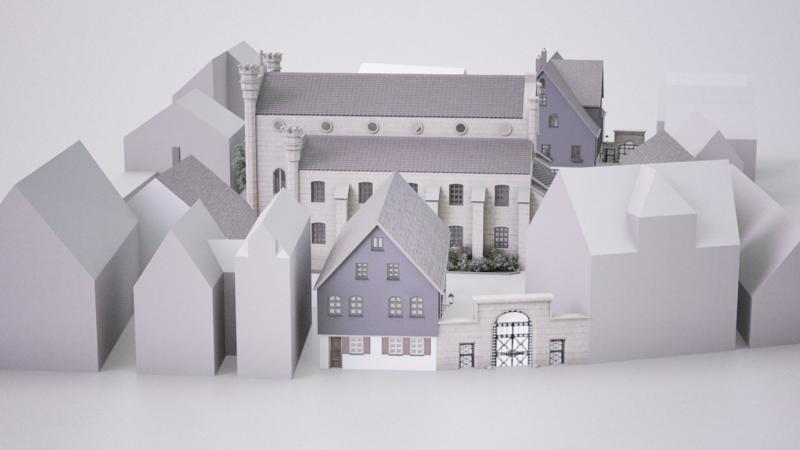 Übersicht des einstigen Fürther Schulhofs, den das Jüdische Museum Franken in einer Panoramaversion rekonstruieren ließ.