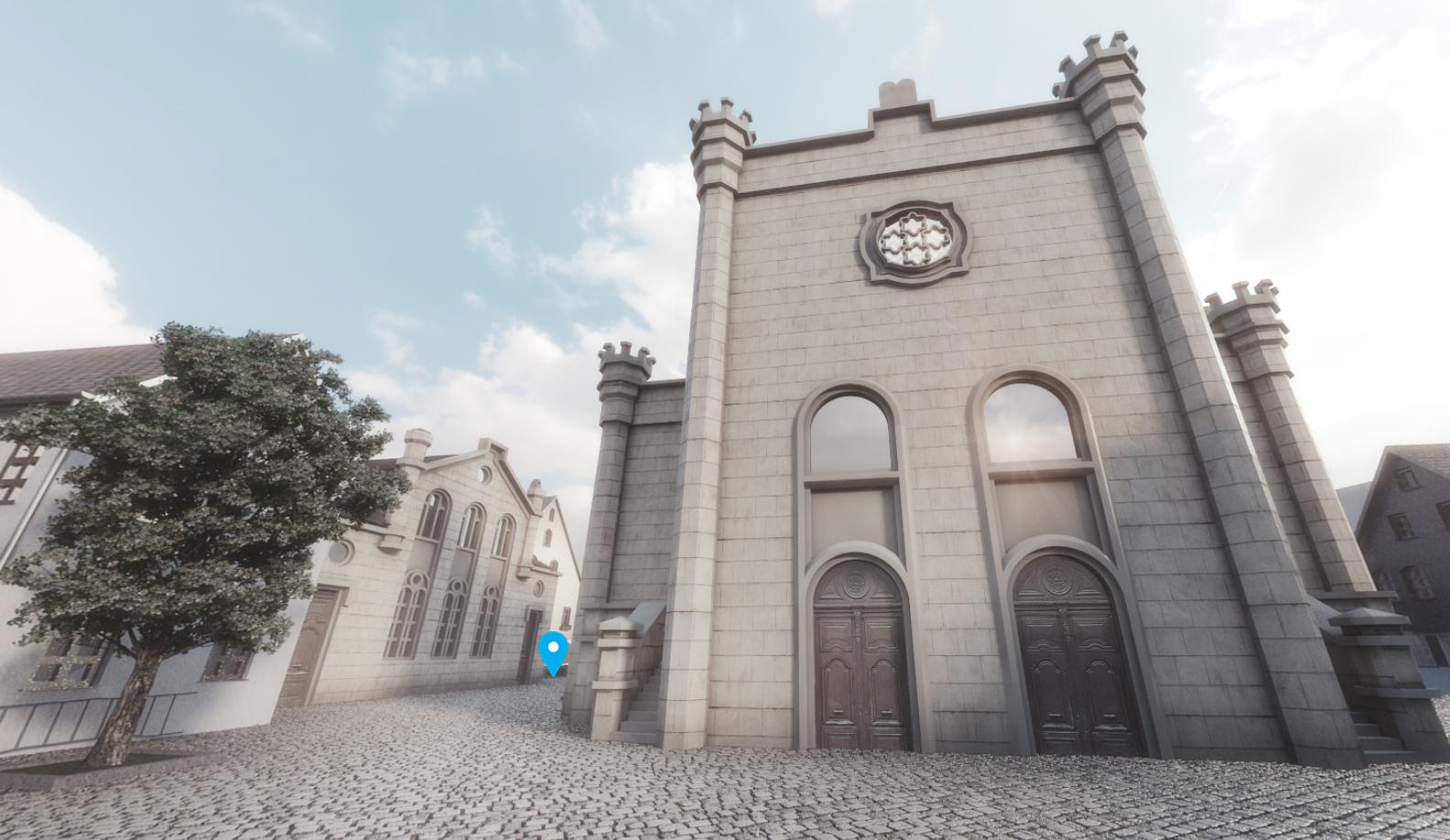 Blick auf die ehemalige Neuschul. Sie und der gesamte Fürther Schulhof wurden in einer Panoramaansicht rekonstruiert.