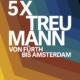 """Stoffbanner der Ausstellung """"5x Treumann"""" im Jüdischen Museum Franken in Fürth vom 17.7.2019-19.1.2020."""