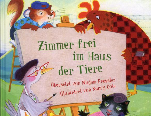 """Buchcover des Kinderbuches """"Zimmer frei in Haus der Tiere"""", das im August beim Lesecafé für Kinder gelesen wird."""