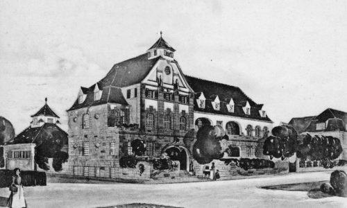 Zeichnung des Nathanstifts in Fürth.