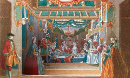 Postkarten-Illustration zum jüdischen Laubhüttenfest Sukkot.