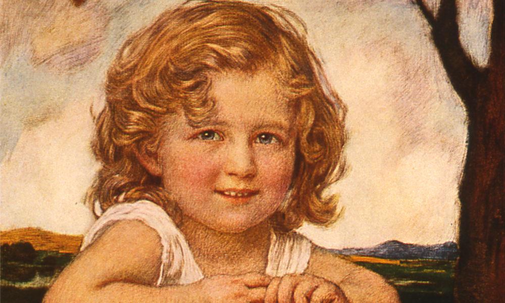 Ölgemälde eines blonden kleinen Kindes.