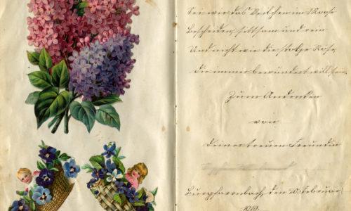 Eintrag eines alten Poesiealbums verziert mit Glanzbildern.