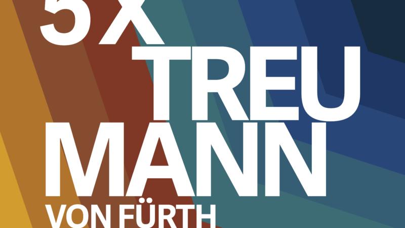 """Banner der Wechselausstellung """"5x Treumann - Von Fürth bis Amsterdam""""."""